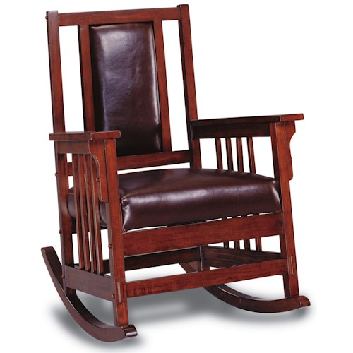 Coaster Rockers Mission Style Wood Rocker with Leather Match Seat and Back