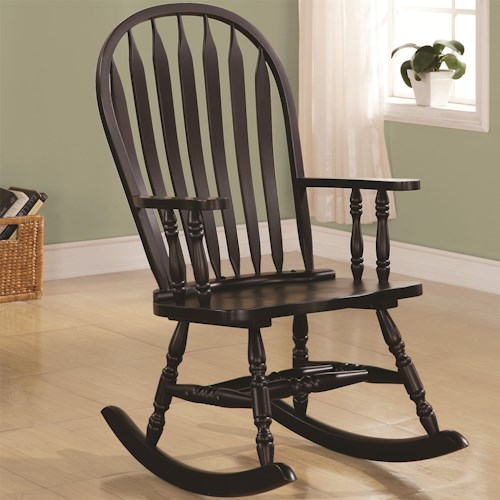 Coaster Rockers Transitional Rocking Chair in Black Finish