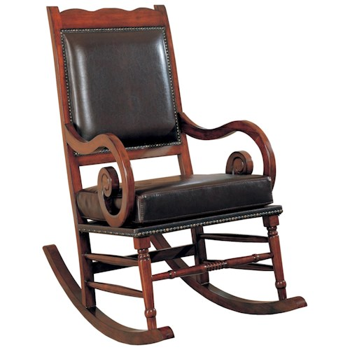 Coaster Rockers Traditional Wood Rocker with Brown Bicast Leather Seat and Back