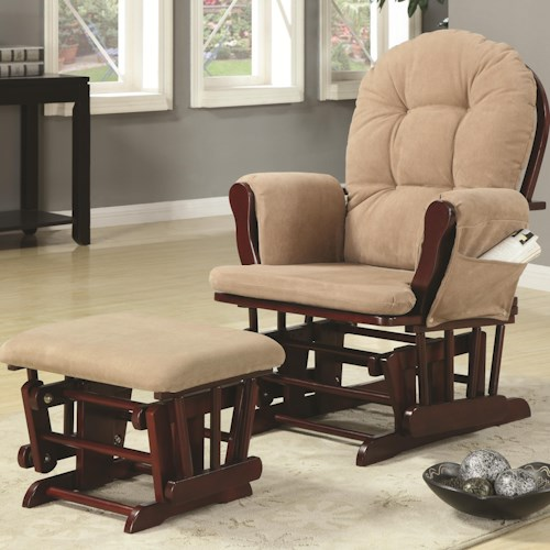 Coaster Rockers Casual Glider Rocker with Beige Upholstery