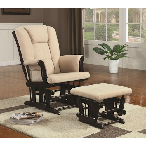 Coaster Rockers Casual Glider Rocker with Beige Upholstery and Storage Pocket
