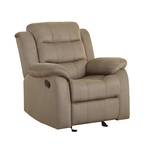 Coaster Rodman Casual Glider Recliner with Pillow Arms