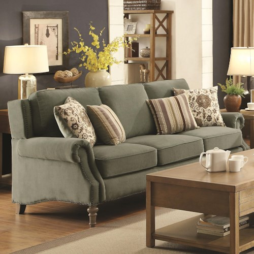 Coaster Rosenberg Traditional Rolled Arm Sofa with Subtle Wing Back and Nailheads