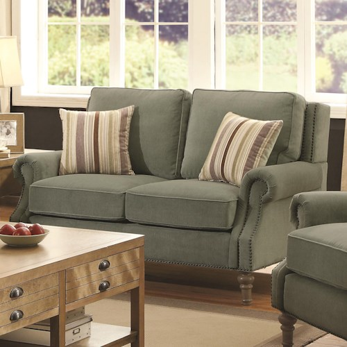 Coaster Rosenberg Traditional Rolled Arm Loveseat with Subtle Wing Back and Nailheads