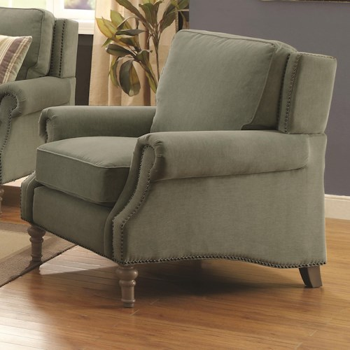Coaster Rosenberg Traditional Rolled Arm Chair with Subtle Wing Back and Nailheads