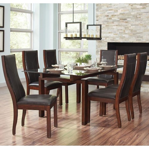 Coaster Rossine Transitional Glass Table Set with Parson Side Chairs