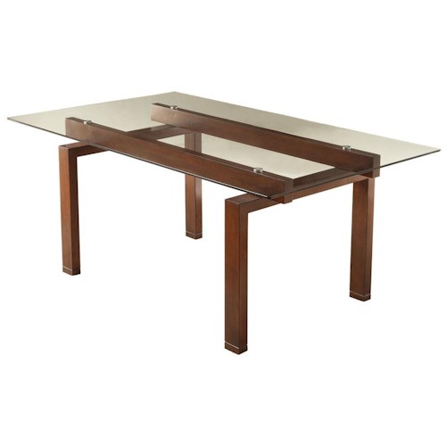 Coaster Rossine Rectangular Glass Dining Table with Wood Base