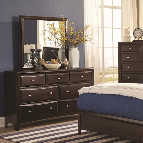 Coaster Rossville 7 Drawer Dresser and Mirror Set with Beveled Drawer Fronts