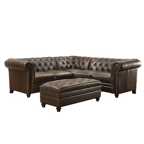 Coaster Roy Button-Tufted Sectional Sofa