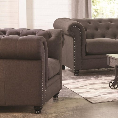 Coaster Roy Traditional Button-Tufted Chair with Rolled Arms and Back
