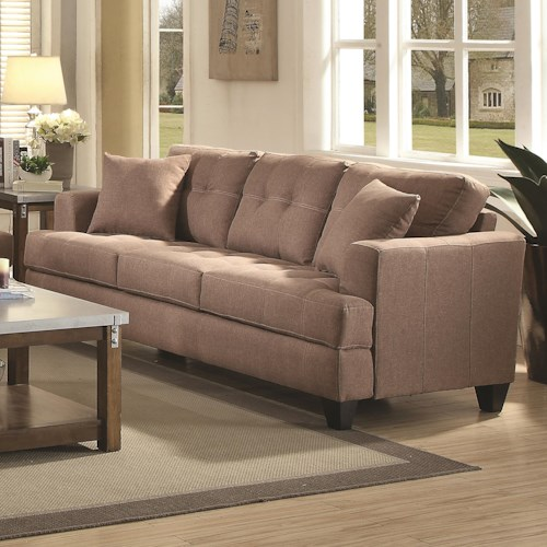 Coaster Samuel Sofa Sofa with Tufted Cushions
