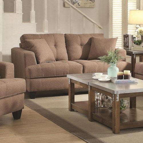 Coaster Samuel Sofa Loveseat with Tufted Cushions