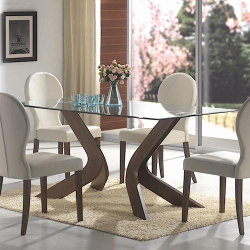 Coaster San Vicente Glass Top Rectangular Dining Table
