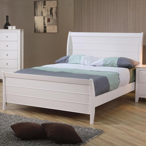 Coaster Selena Twin Sleigh Bed with Panel Detail
