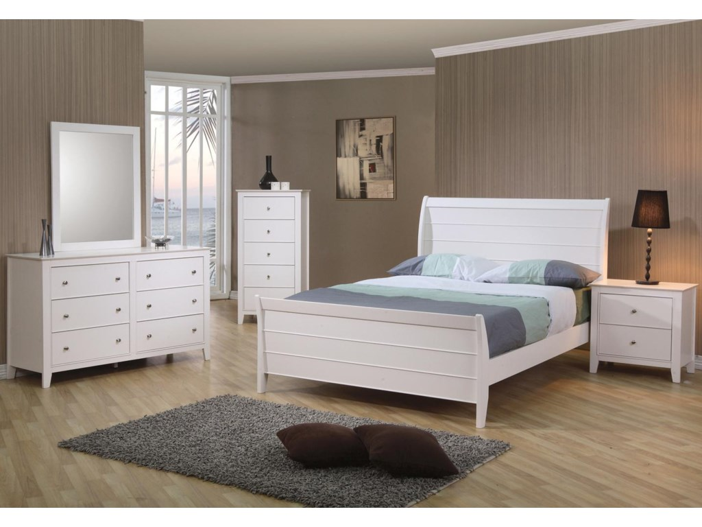 Shown with Nightstand, Dresser & Mirror, and Chest. Bed Shown May Not Represent Size Indicated.