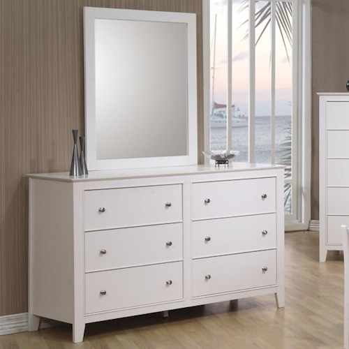 Coaster Selena 6 Drawer Dresser & Landscape Mirror