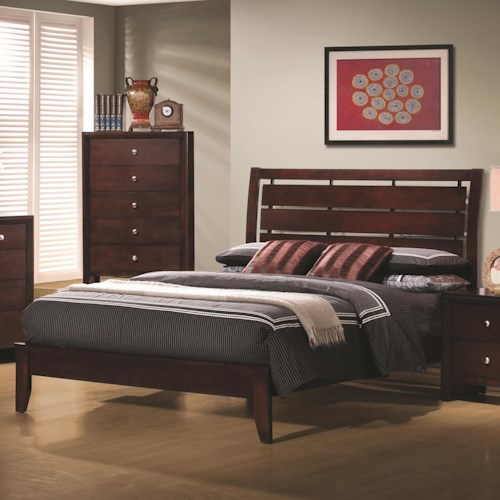 Coaster Serenity  California King Platform Style Bed with Cut-Out Headboard Design