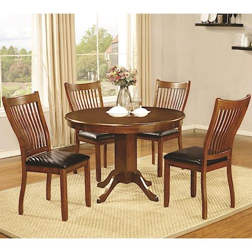 Coaster Sierra 5 Piece Dining Set with Round Pedestal Table
