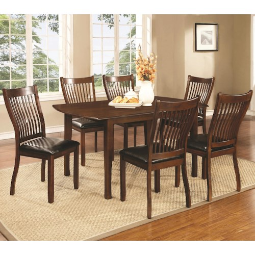 Coaster Sierra 7 Piece Dining Set with Rectangular Table