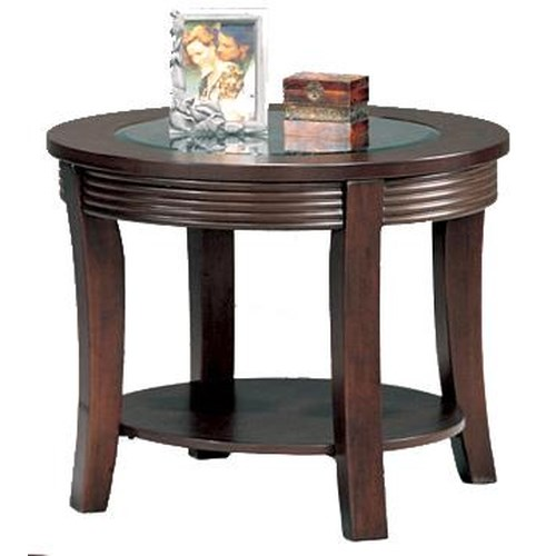 Coaster Simpson Round End Table with Glass Top