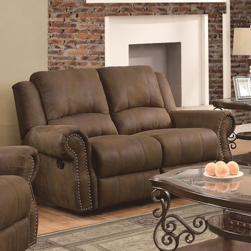 Coaster Sir Rawlinson Traditional Gliding Reclining Love Seat with Nailhead Studs