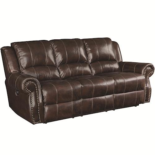 Coaster Sir Rawlinson Traditional Reclining Sofa with Nailhead Studs
