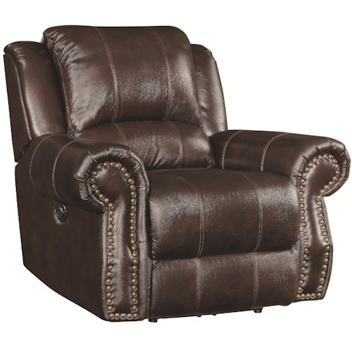 Coaster Sir Rawlinson Traditional Swivel Rocker Recliner with Nailhead Studs