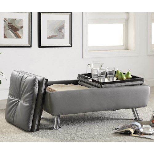 Coaster Dilleston Storage Ottoman with Chrome Legs