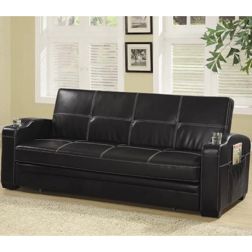 Coaster Sofa Beds and Futons -  Faux Leather Sofa Bed with Storage and Cup Holders