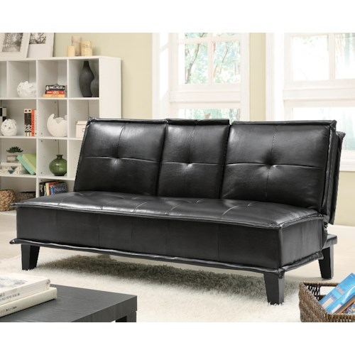 Coaster Sofa Beds and Futons -  Contemporary Black Vinyl Sofa Bed with Drop Down Table