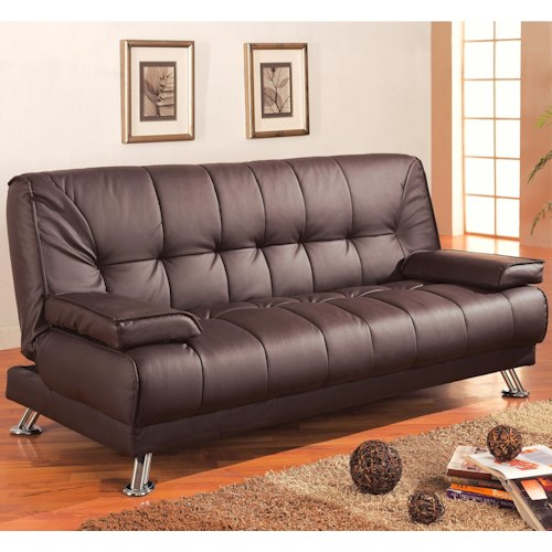 Coaster Sofa Beds and Futons -  Faux Leather Convertible Sofa Bed with Removable Armrests