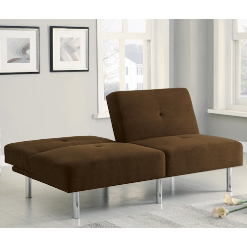 Coaster Sofa Beds and Futons -  Contemporary Microfiber Sofa Bed with Split Back