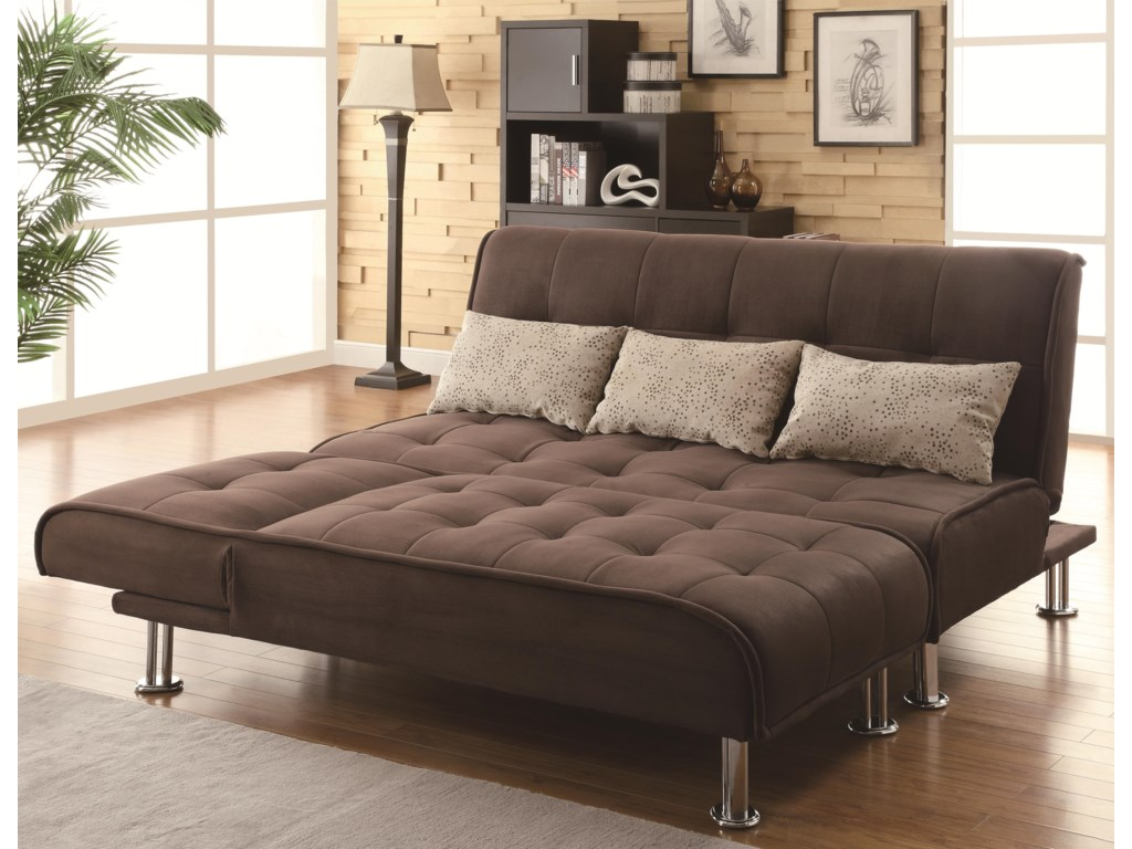 Shown in Sofa Position with Coordinating Chaise Folded Down at Foot of Bed