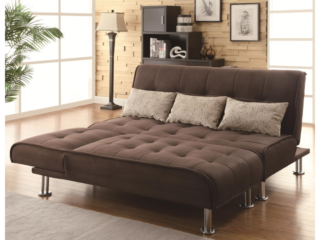 Shown in Sleeper Sofa Position with Chaise Folded Down at End of Sofa