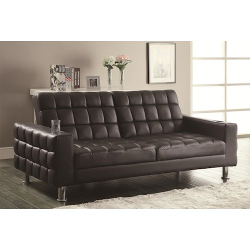 Coaster Sofa Beds and Futons -  Adjustable Sofa Bed with Cup Holders