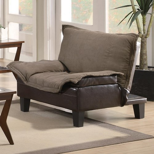 Coaster Sofa Beds and Futons -  Ratchet Back Chair Bed in Microfiber/Vinyl