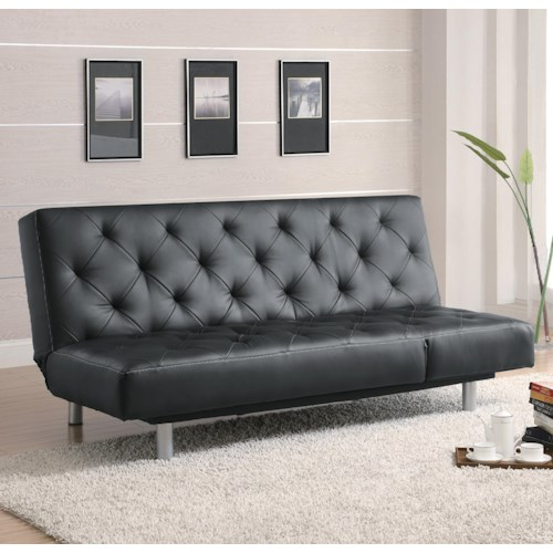 Coaster Sofa Beds and Futons -  Black Vinyl Tufted Sofa Bed/Oversize Chaise