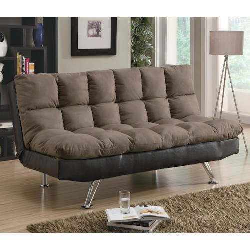 Coaster Sofa Beds and Futons -  Contemporary Brown Microfiber/Dark Brown Vinyl Sofa Bed