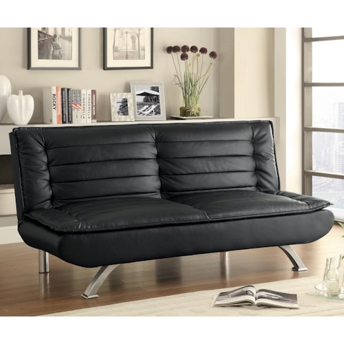 Coaster Sofa Beds and Futons -  Sofa Bed with Channeled Pillow Top Cushioning in Black Leatherette