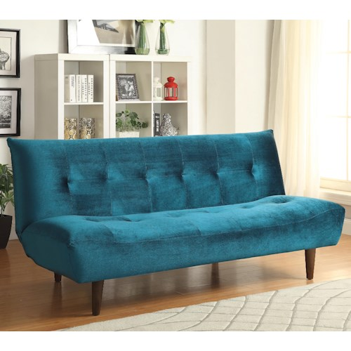 Coaster Sofa Beds and Futons -  Teal Velvet Sofa Bed with Solid Wood Legs & Tufted Back