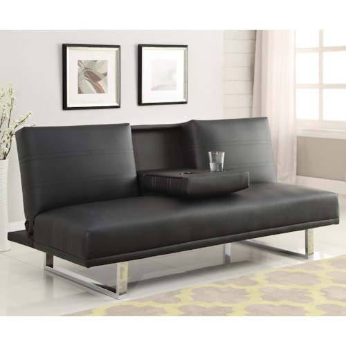 Coaster Sofa Beds and Futons -  Contemporary Sofa Bed with Chrome Legs