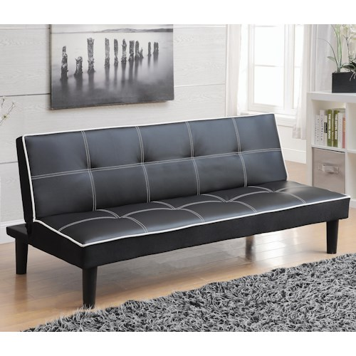 Coaster Sofa Beds and Futons -  Sofa Bed in Black Leatherette with White Piping
