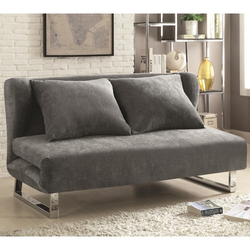 Coaster Sofa Beds and Futons -  Transitional Velvet Sofa Bed