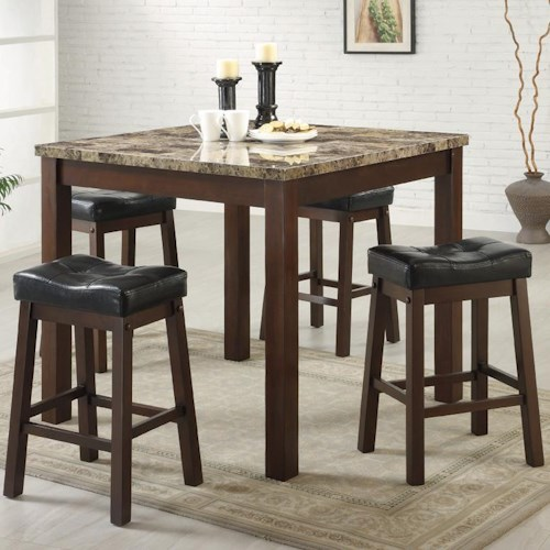 Coaster Sofie 5 Piece Marble Look Counter Height Dining Set
