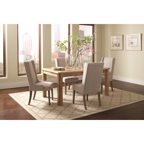Coaster Solomon Rectangular Table Set with Wingback Chairs