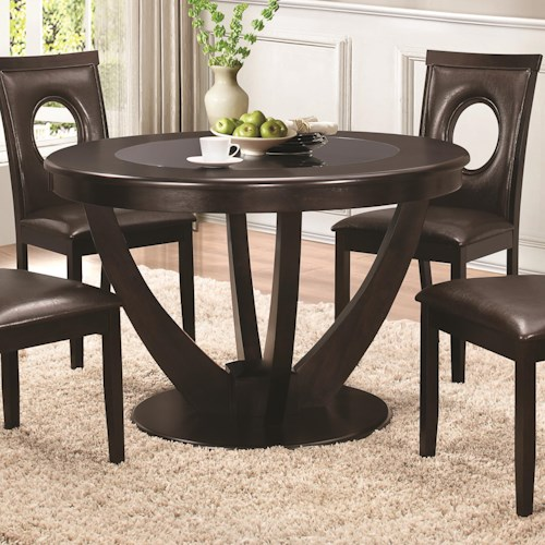 Coaster Stapleton Dining Table with Black Glass Top