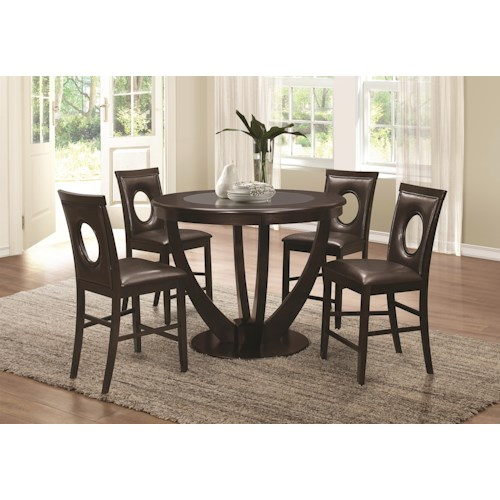 Coaster Stapleton 5 Piece Counter Height Table and Chairs Set