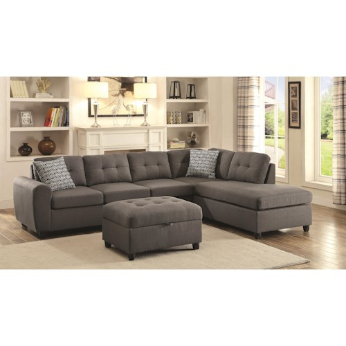 Coaster Stonenesse Grey Contemporary Sectional with Button Tufted Cushions