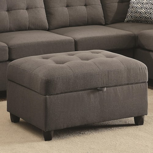 Coaster Stonenesse Grey Storage Ottoman With Button Tufting