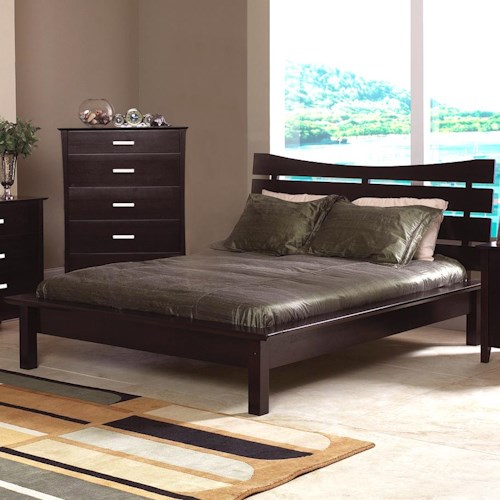 Coaster Stuart Contemporary Queen Platform Bed with Slat Headboard